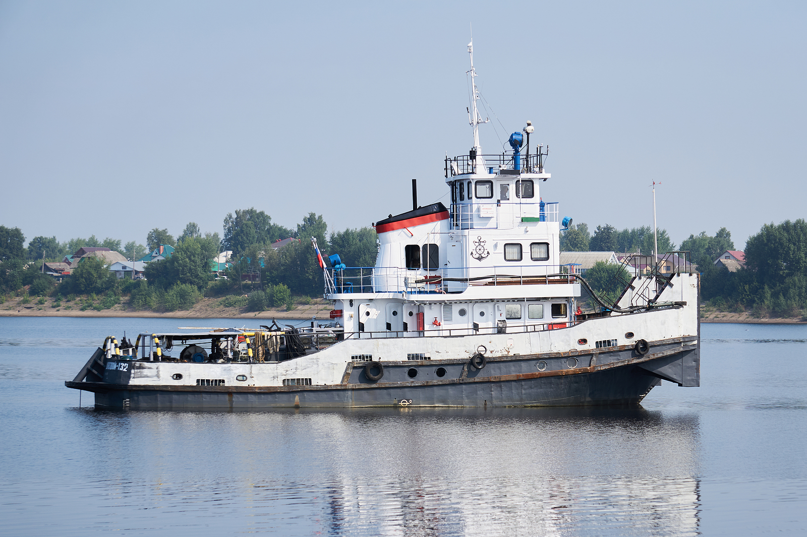 Perm Krai, Russia - July 27, 2020: Towboat On The Kama River